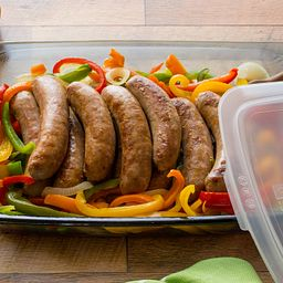 Easy Grab 3-qt Oblong Baking Dish w/ Bratwurst and Vegetables