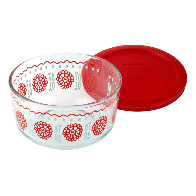 Bloom Crimson 4-cup Glass Food Storage Container with Red Lid