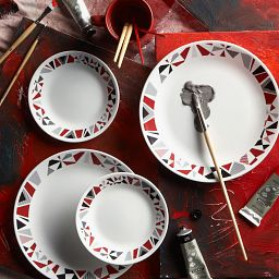 Mosaic Red 16-pc Dinnerware Setting on the Table