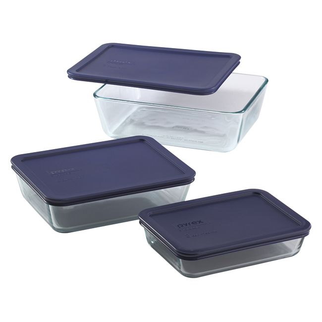 6-piece Glass Food Storage Container Set with Blue Lids