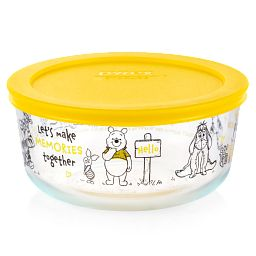Winnie the Pooh 4-cup Glass Storage with Yellow Lid