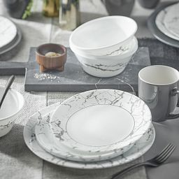 Stone Grey 16-piece Dinnerware Set on the table