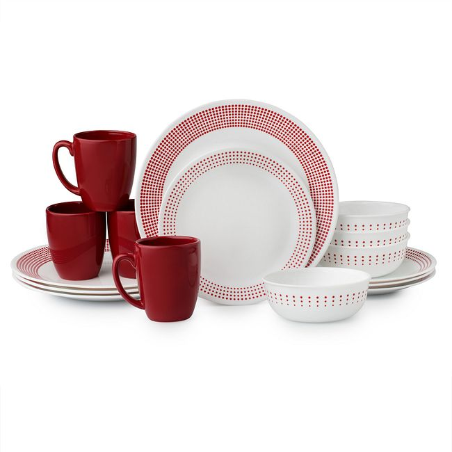 Livingware Bayside Dots 16-pc Dinnerware Set, Red