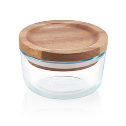 Glass Storage 1 Cup Round Dish with Wood Lid