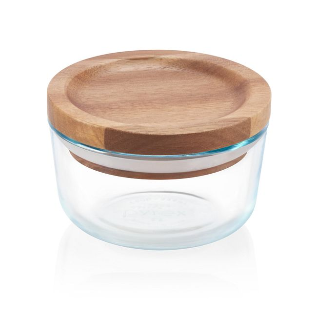 1 Cup Glass Storage Dish w/ Wood Lid