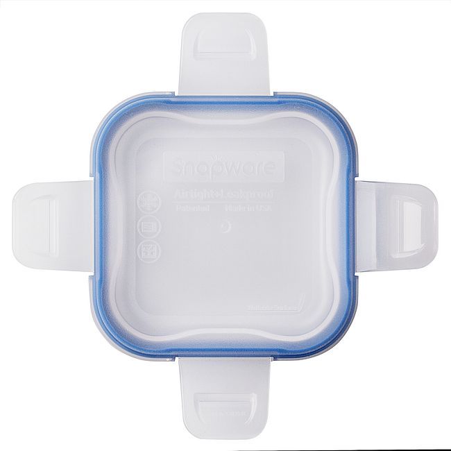 Total Solutions Square Small Plastic Lid w/ Blue Seal