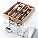 Lace Frosted 54-piece Flatware Set with Natural Wood Caddy, Service for 8