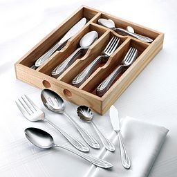 Hampton Signature Lace Frosted 54-piece Set with Natural Wood Caddy
