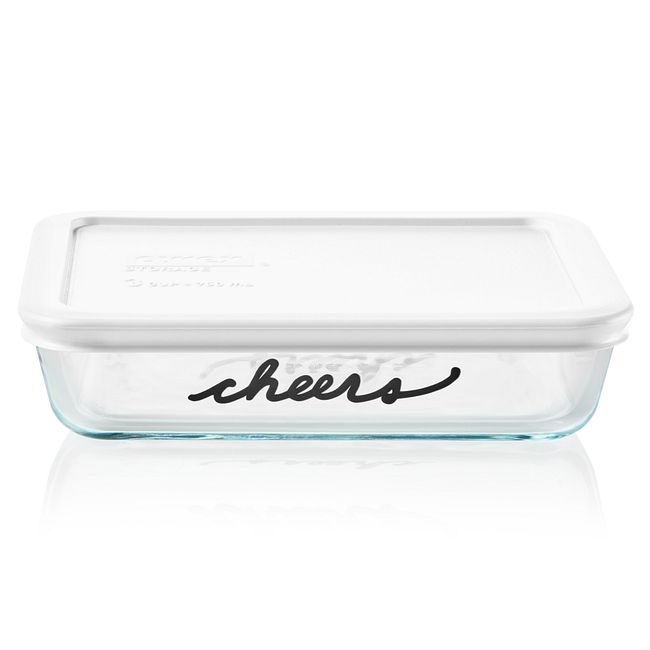 Celebrations Cheers 3-cup Glass Food Storage Container with White Lid