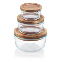 Glass Storage 6-Piece Round Set with Wood Lid