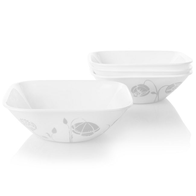 Night Blooms Gray 22-ounce Cereal Bowls, 4-pack