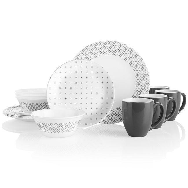 Farmstead Gray 16-piece Dinnerware Set, Service for 4