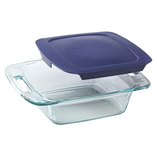 "Easy Grab 8"" Square Baking Dish w/ Blue Lid"