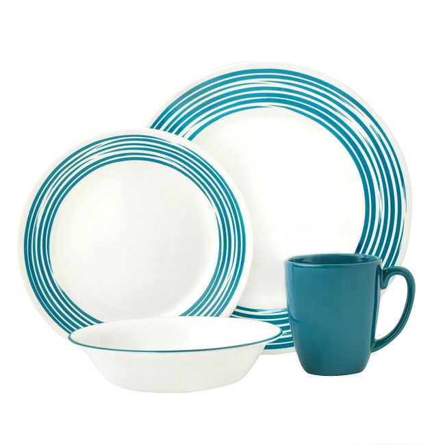 Brushed Turquoise 16-piece Dinnerware Set, Service for 4