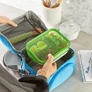 MealBox™ 4.1-cup Divided Glass Food Storage Container with Green Lid