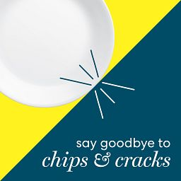 Say Goodbye to Chips and Cracks text with white plate