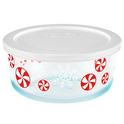 4 Cup Peppermint Storage Dish w/ White Lid On