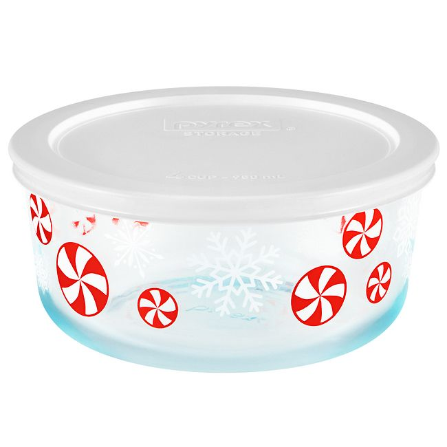 Peppermint 4-cup Glass Food Storage Container with White Lid