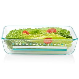 Doodles 3-cup Glass Food Storage Container with lettuce & tomatoes