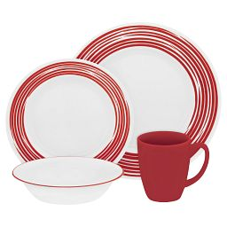 Boutique™ Brushed 16-pc Dinnerware Set  Red