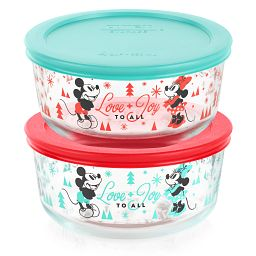 Mickey & Friends 4-piece Holiday Glass Storage Container Set