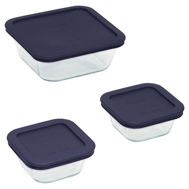 6-piece Glass Food Storage Container Set with Navy Lids