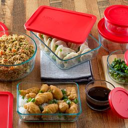 Simply Store 14-pc Set w/ Red Lids with food in dishes