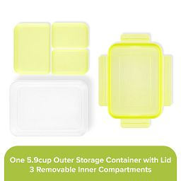 Meal Prep 3-section Divided: 5.9-cup Rectangle Storage Container with lime green lid showing individual pieces