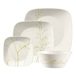 Market Street New York Gilded Woods 4-pc Square Dinnerware