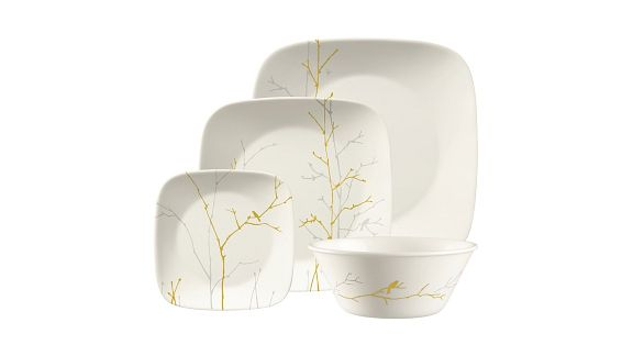 Gilded Woods Corelle Pattern on Square Dinnerware