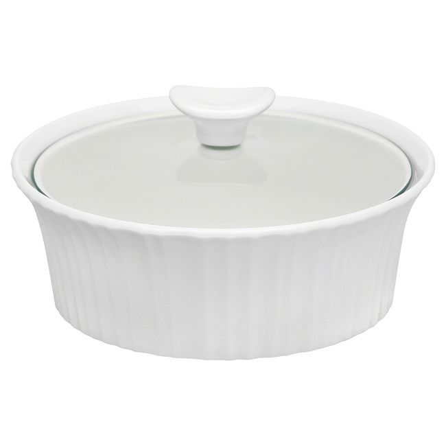 French White 1.5-quart Round Casserole Dish with Lid