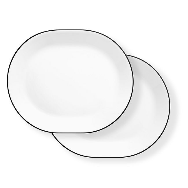 "Brilliant Black 12.25"" Serving Platters, 2-pack"