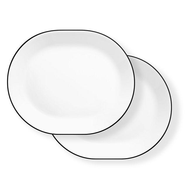 "Brilliant Black 12.25"" Serving Platters, 2-pack"