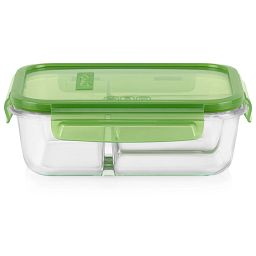 MealBox™ 3.8-cup 3-compartment Glass Food Storage Container with Green Lid
