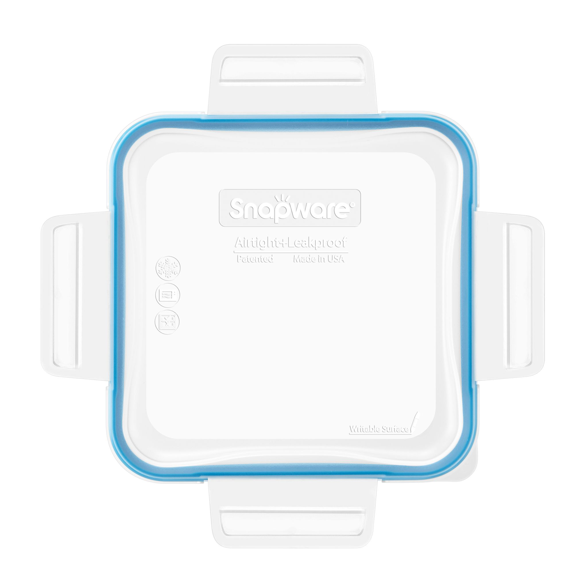 Total Solutions Square Medium Plastic Lid with Light Blue Seal