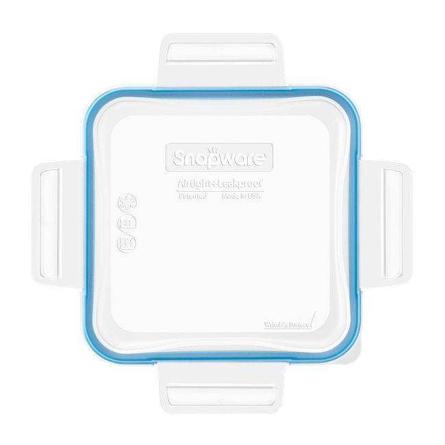 Total Solutions Square Medium Plastic Lid W Light Blue