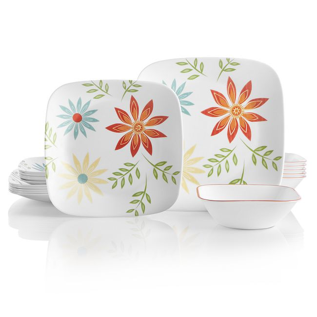 Square Happy Days 18-piece Dinnerware Set, Service for 6