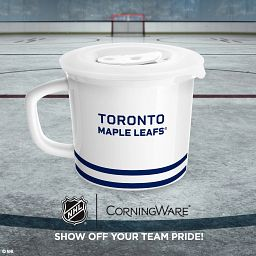 """NHL Toronto Maple Leafs Carlton 20-oz Meal Mug from backside with text """"show off your team with pride"""""""