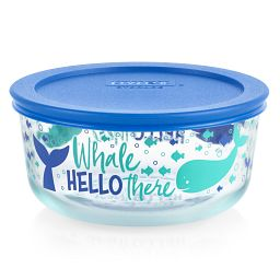 Whale Hello There 4-cup Glass Food Storage Container with Blue Lid