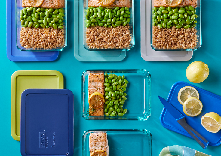 Pyrex® Simply Store 10-piece Meal Prep Rectangular Glass Storage Set with salmon and lima beans