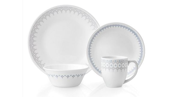 Evening lattice pattern featuring grey and navy bands around the plates, bowl and mug