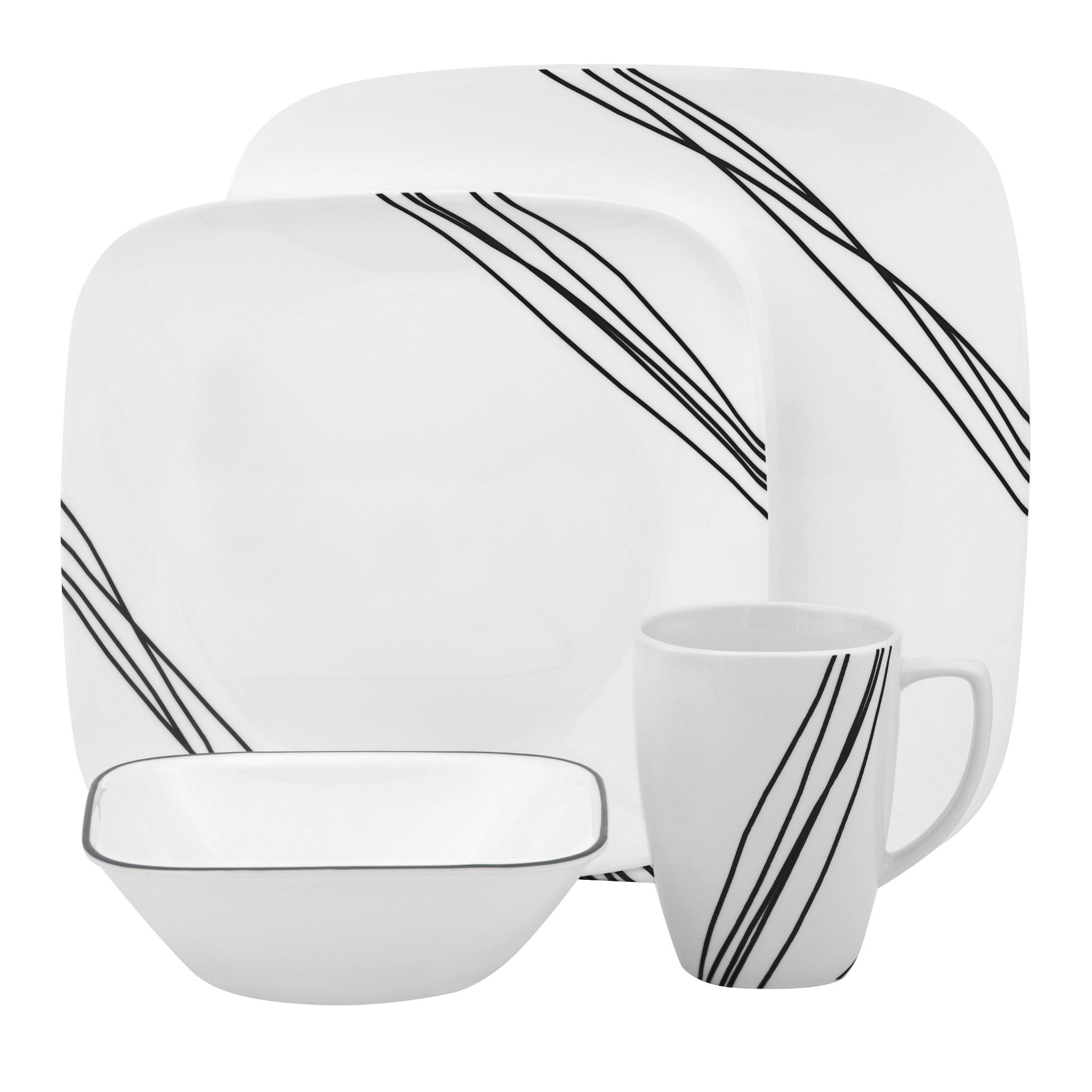 Simple Sketch 16-piece Dinnerware Set, Service for 4