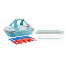 Deep Portable 4-piece Glass Baking Dish Set with Green Sage Lid