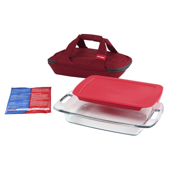 4-piece Portables Set with Red bag and Lid