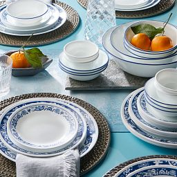 True Blue 50-piece Dinnerware Set on the table