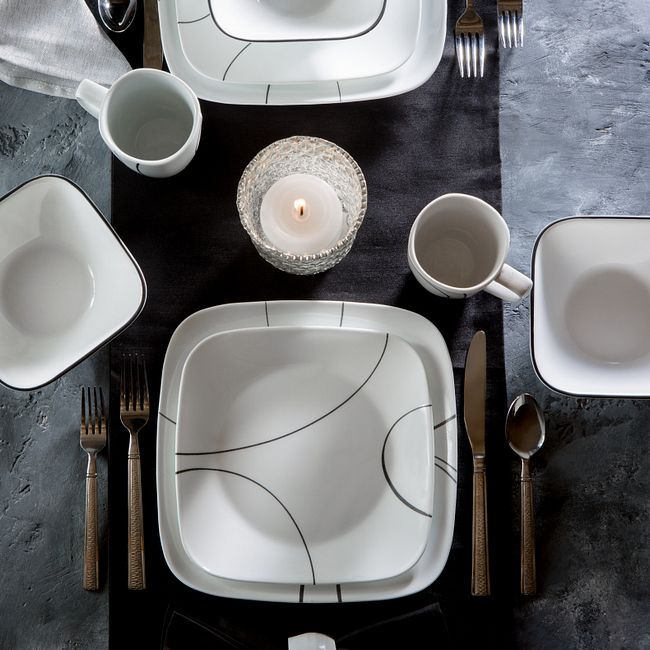 Simple Lines 16-piece Dinnerware Set, Service for 4