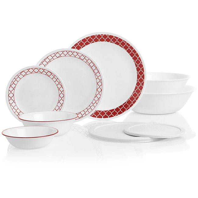 Crimson Trellis 78-piece Dinnerware Set, Service for 12