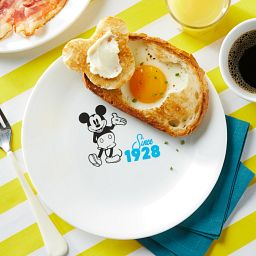 "8.5"" Salad Plate: Mickey Mouse™ - Since 1928 with toast & egg on plate"