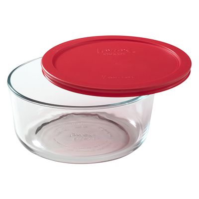 Pyrex Simply Store 7 Cup Round Storage Dish W/ Red Lid