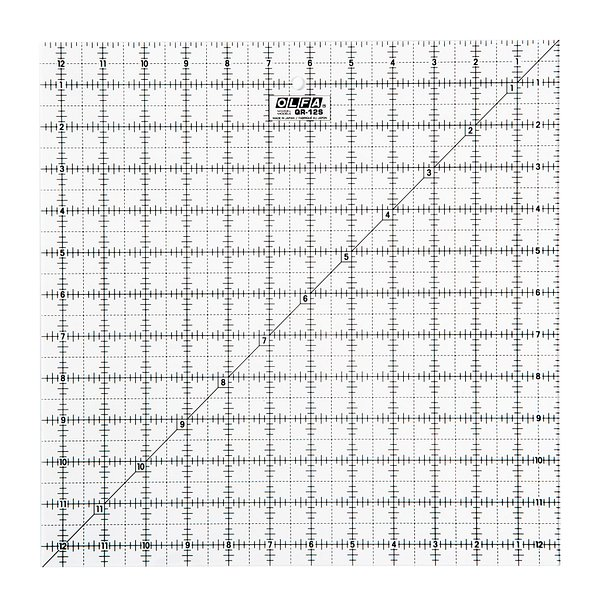 12-1/2″ Square Frosted Acrylic Ruler (QR-12S)